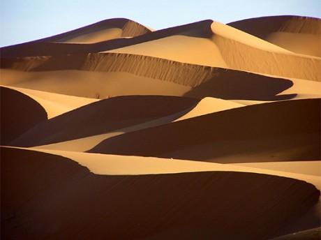 M'hamid's big dunes crossing the big oasis